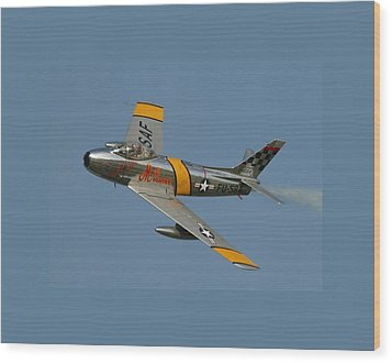 North American F 86 Sabre John Glenn Border Wood Print by L Brown