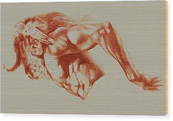 North American Minotaur Red Sketch Wood Print by Derrick Higgins