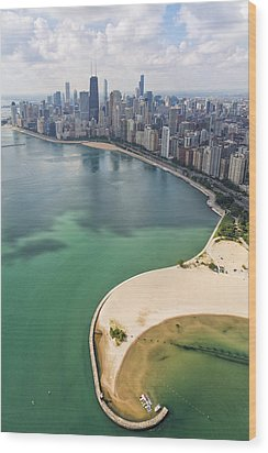North Avenue Beach Chicago Aerial Wood Print by Adam Romanowicz