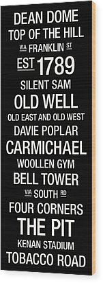 North Carolina College Town Wall Art Wood Print by Replay Photos