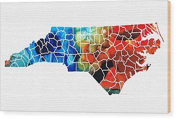 North Carolina - Colorful Wall Map By Sharon Cummings Wood Print by Sharon Cummings
