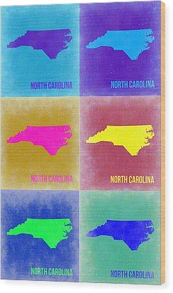 North Carolina Pop Art Map 2 Wood Print by Naxart Studio