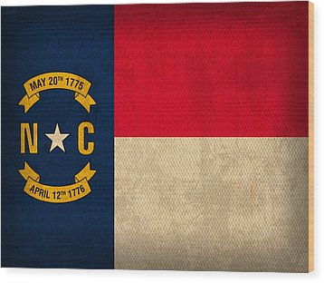 North Carolina State Flag Art On Worn Canvas Wood Print by Design Turnpike