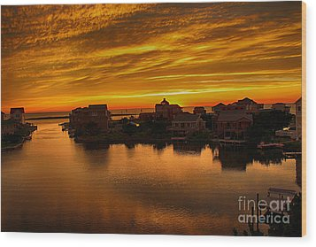 North Carolina Sunset Wood Print by Tony Cooper