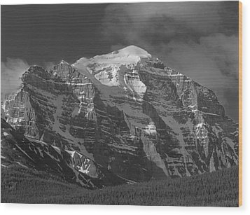 203553-north Face Mt. Temple Bw Wood Print