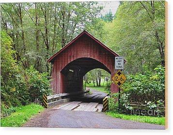 North Fork Yachats Covered Bridge Wood Print