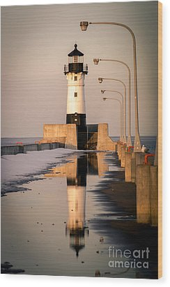 Wood Print featuring the photograph North Pier Sunset Melt by Mark David Zahn
