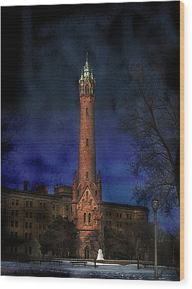 North Point Water Tower Wood Print by David Blank