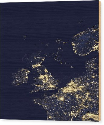 North Sea At Night, Satellite Image Wood Print by Science Photo Library