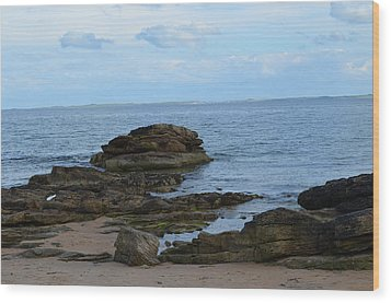 North Sea By The Rocks Wood Print