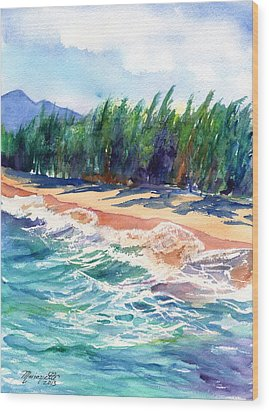 North Shore Beach 2 Wood Print by Marionette Taboniar