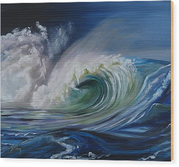 Wood Print featuring the painting North Shore Curl by Donna Tuten