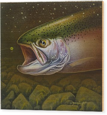 Wood Print featuring the painting North Shore Steelhead by Jon Q Wright