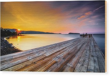 Wood Print featuring the photograph North Shore Sunrise Grand Portage Mn by RC Pics
