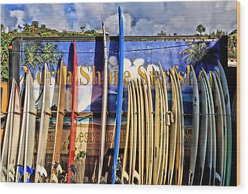 North Shore Surf Shop Wood Print