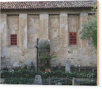 North Wall Of The Carmel Mission Wood Print