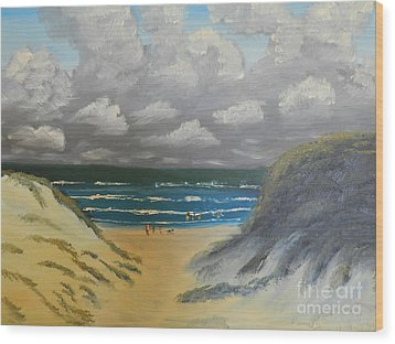 Wood Print featuring the painting North Windang Beach by Pamela  Meredith