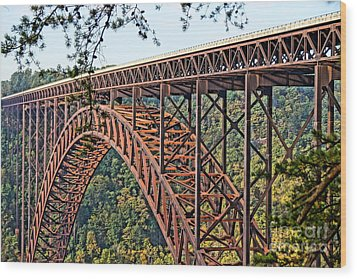 Northeast Close-up Of New River Gorge Bridge Wood Print by Timothy Connard