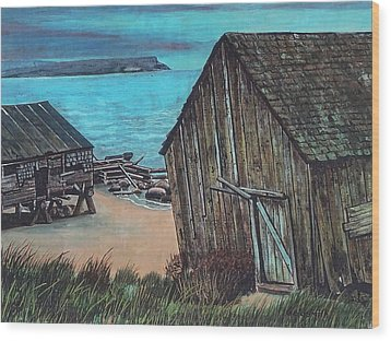 Northeast Coast Beach Wood Print