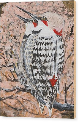 Wood Print featuring the painting Northern Flickers by Cathy Long