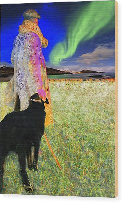 Northern Lights Wood Print by Chuck Staley