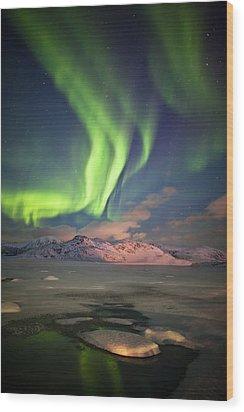 Northern Lights Highway Wood Print by Deryk Baumgaertner