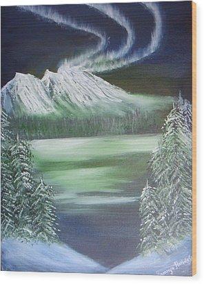 Northern Lights Wood Print by Saranya Haridasan