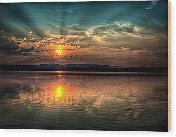 Northern Maine Sunrise Wood Print by Gary Smith