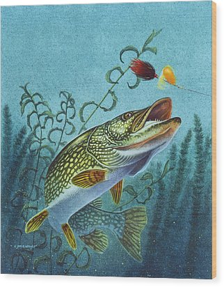 Wood Print featuring the painting Northern Pike Spinner Bait by Jon Q Wright