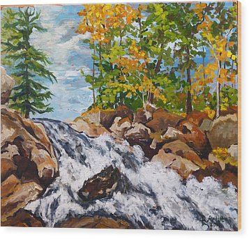 Northern Waterfall Wood Print