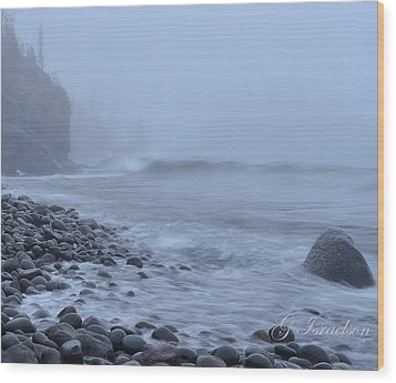 Northshore Fog And Waves Wood Print by Gregory Israelson