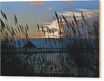 Wood Print featuring the photograph Ocean City Sunset At Northside Park by Bill Swartwout