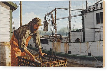 Wood Print featuring the painting Northwest Fisherman by Ron Crabb