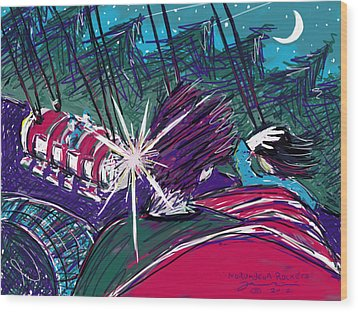 Wood Print featuring the painting Norumbega Rockets by Jean Pacheco Ravinski