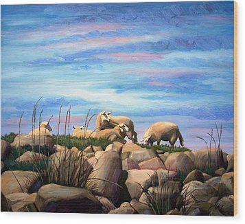 Wood Print featuring the painting Norwegian Sheep by Janet King
