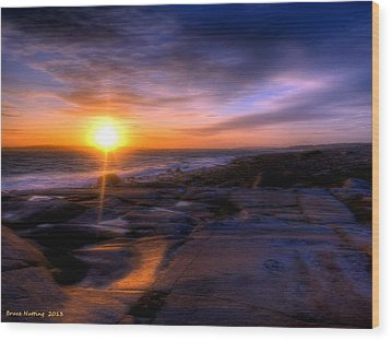Norwegian Sunset Wood Print by Bruce Nutting