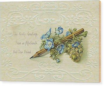 Wood Print featuring the digital art Nostalgic Greeting Card by Sandra Foster