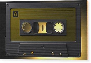 Nostalgic Macro Cassette Tape Wood Print by Allan Swart