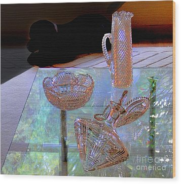 Not Depression Glass Wood Print by Al Bourassa