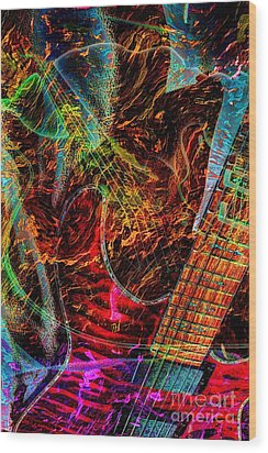 Notes On Fire Digital Guitar Art By Steven Langston Wood Print by Steven Lebron Langston