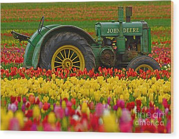 Nothing Runs Like A Deere Wood Print by Nick  Boren