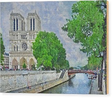 Notre Dame And The River Seine Wood Print