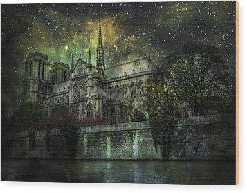 Notre Dame At Night Wood Print