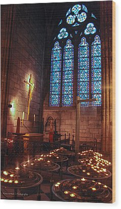 Notre Dame Candles Wood Print by Ross Henton