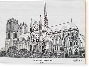 Notre Dame Cathedral - Paris Wood Print by Frederic Kohli