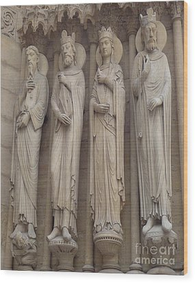Wood Print featuring the photograph Notre Dame Cathedral Saints by Deborah Smolinske