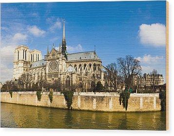 Notre Dame De Paris And The River Seine Wood Print by Mark E Tisdale