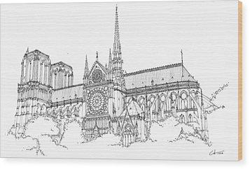 Notre Dame De Paris Wood Print by Calvin Durham