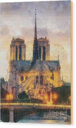 Notre Dame De Paris Wood Print by Mo T