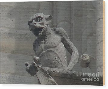 Wood Print featuring the photograph Notre Dame Gargoyle by Deborah Smolinske